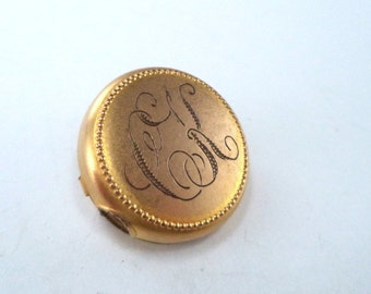 Gold Plated Brooch Monogrammed CK