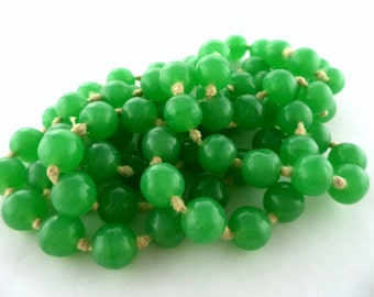 Antique Green Czech Glass Bead Necklace