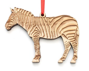 Zebra Ornament . Zoo Animal Collection from Nestled Pines Workshop - Wood Ornament