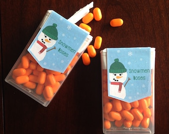 PRINTABLE Tic Tac Box Sticker Label for Holiday Snowmen Noses - Custom by Request