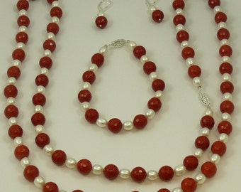 Freshwater White Pearl and 10mm Red Beads Set with Silver
