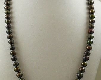 Freshwater Semi-Round Black Pearl Necklace 14k White Gold 24 1/2 inches