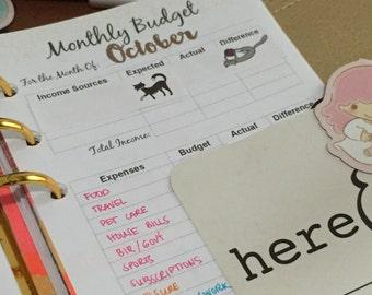 Monthly Budget Planner Insert (Filofax Personal/Kikki K Medium size)