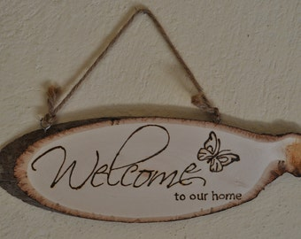 Wood Burned Welcome Sign, Pyrography, Woodburning