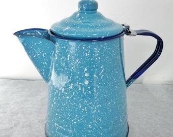 Light Blue Speckled Enamelware Coffee Pot Tea Kettle