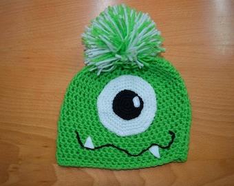 Handmade Crocheted Green Monster Pompom Hat
