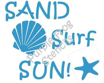 Sand, Surf Stencil Different Sizes Available, Beach