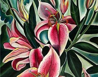 Starburst Lilies Jaquine  24 x 30
