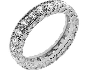 Vintage Diamond Wedding Ring, Art Deco Eternity Ring, Art Deco Wedding Band, Womens Diamond Eternity Ring