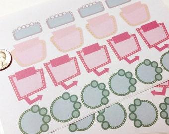 Stickers(handmade): Pastel mod marquis sticker labels for calendar/planners (matte)