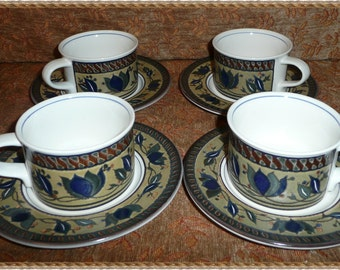 Mikasa Arabella Intaglilo set of four cups and saucers