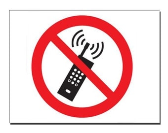 No Mobiles Safety Sign