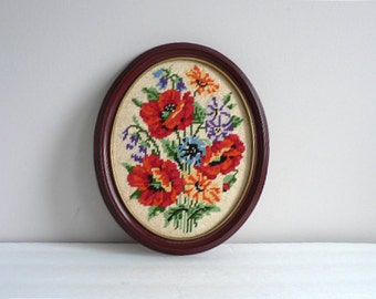 Floral Needlepoint Picture in Oval Frame -  Poppies Cornflower Marigold Picture WildFlowers Country Home Wall Decor