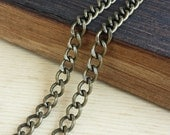 Antique Brass 6x8mm Curb Chain - 3 feet or 6 feet - Antique Brass Finish - Heavy Duty, Soldered Links - Nickel Free