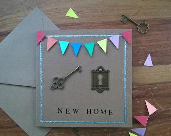 New home lock and key housewarming card