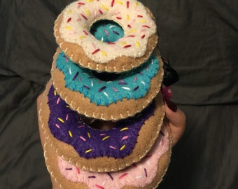 Felt Donut Ornaments- Donut Keychain- Felt Donut-Donut Plushie