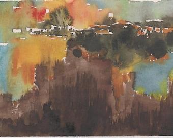 HOME - original watercolor painting 7X5, landscape