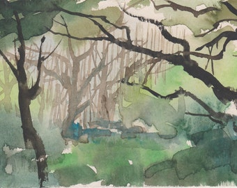 GREEN - original watercolor painting 7X5, landscape