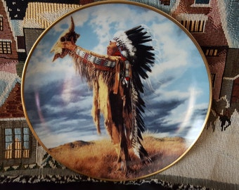 Native American Art Vintage collectors plate  Prayer To The Great Spirit