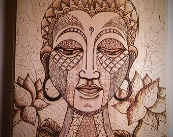 Buddha, wood burned, pyrography, meditating Buddha, origional artwork