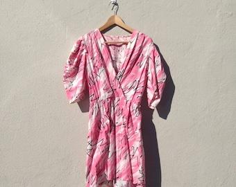 Pink Puff Sleeved Dress