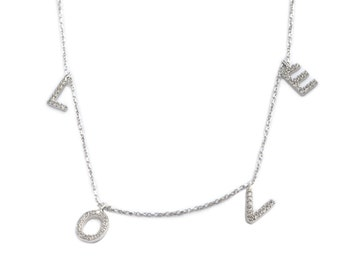 STERLING LOVE Necklace With 60 CZ In Total  (MDG166)