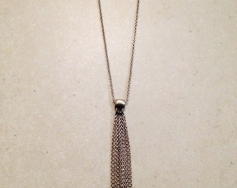 Silver & Oxidized Silver Long Necklace. FREE SHIPPING