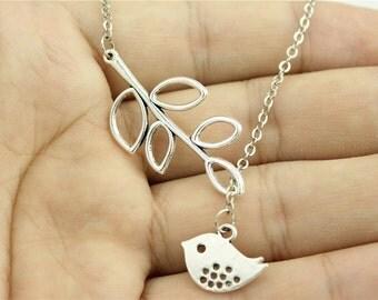 Bird Lariat Necklace - Silver Bird Necklace - Sparrow Necklace - Bird Branch Necklace