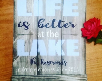 Life Is Better at the Lake Wood Sign