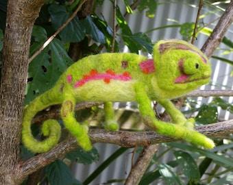 Hand needle felted chameleon - NZ merino