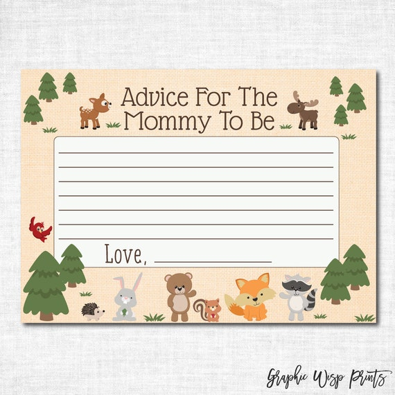 Baby Shower Tips For New Moms: Advice For Mommy To Be Baby Shower Cards Woodland Baby Shower