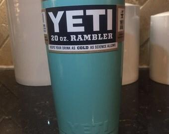 Free Shipping! 20oz Yeti Rambler Powder Coated Teal/Seafoam