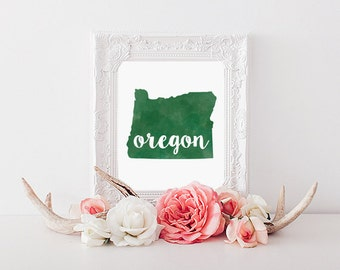 University of Oregon Ducks Watercolor State Printable (8x10)