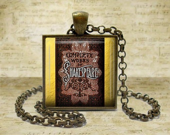 Shakespeare Book Necklace Literary Gifts Literary Necklace Literature Gifts Book Lover Book keyfob Book Keychain Shakespeare Lover Gift