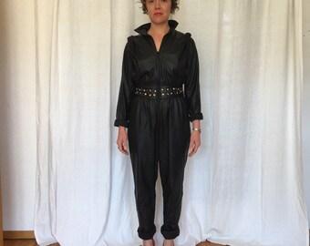 Black lambskin leather jumpsuit