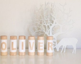 Original Letterpillar Blocks, Wooden Letter Name Blocks, Baby Name Blocks, Custom Personalised Personalized Name Blocks, Wood Blocks
