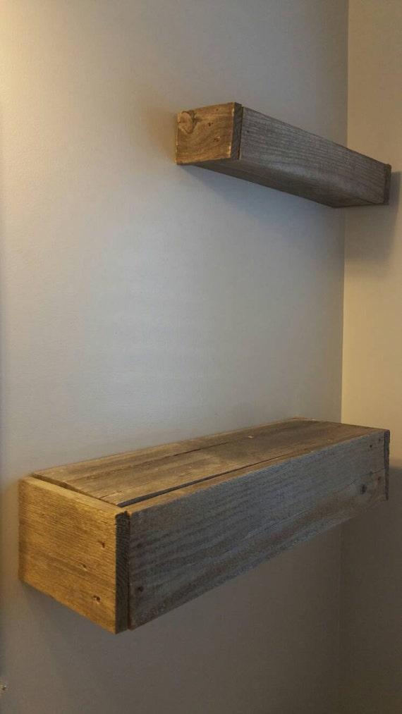 2 floating wood pallet shelves