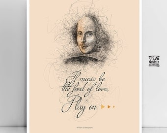 """Literary Art Prints """"Shakespeare"""" Quote Poster Typography Illustration, Extra Large Wall Art, Poster Art Writer Gift for Men, Woman gift"""