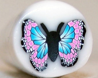 Pink and Turquoise Butterfly - Polymer Clay Cane