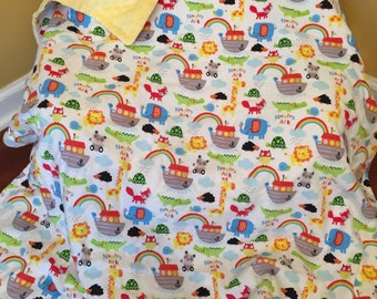 READY TO SHIP Noah's Ark Snuggle Flannel Blanket