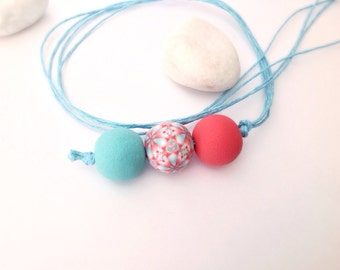Polymer Clay Necklace, Beaded pendant  , Modern jewelry , Mint and coral necklace, Contemporary jewelry, Polymer clay jewelry.
