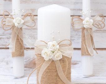 Unity Candle Set Rustic Unity Candle Set  Unity Ceremony Set Rustic Candles Set Rustic Wedding
