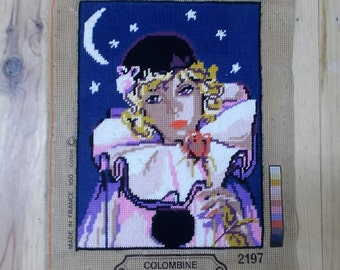 Margot Colombine, Clown, Needlepoint Canvas, Wall Tapestry, Hanging Tapestries, Made in France, Completed canvases, Night sky,  Moon light