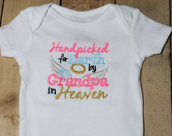 Embroidered Bodysuit Handpicked for Earth by my Grandpa in Heaven Baby Shower Gift Hand Picked Bodysuit Knotted Baby Headband