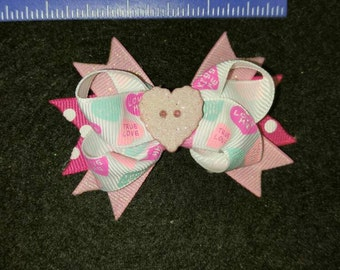 Valentine heart hair bow.