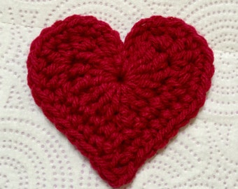 Crochet Heart, Large Crocheted Heart, Heart Appliqué, Set of 7