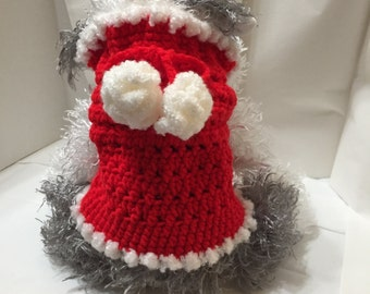 Crocheted Dog Sweater Sm, Holiday Pet Sweater Sm, Red & White Pet Swaeter, Santa Pet Sweater Sm