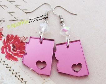 AZ Love - pink mirror earrings, laser cut acrylic, charms, AB crystals, Tucson, Arizona, dangle