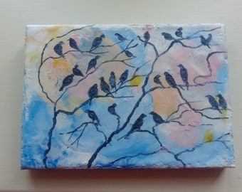Birds in tree at dusk encaustic painting