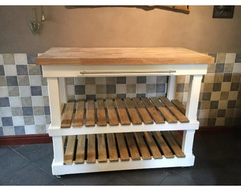 kitchen island with oak top